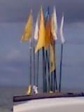 Jhandis flying high following Puja (Hindu Prayer Ceremony)