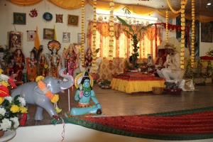A view of the stage of the Coromandel Shiv Mandir SDMS Branch 370, Coromandel Village Cedros