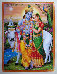 Lord Krishna and Radha Ma with the sacred cow!