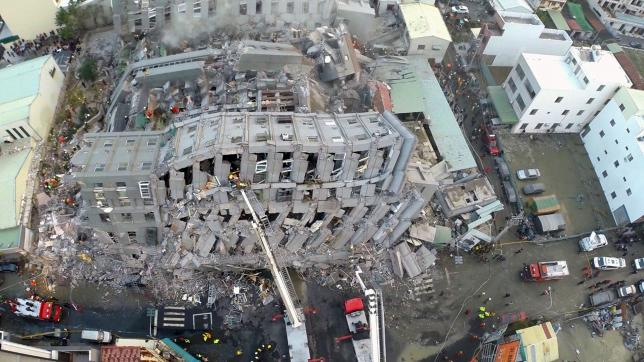 Aerial picture of a site where buildings collapsed after a powerful earthquake hit Tainan, southern Taiwan